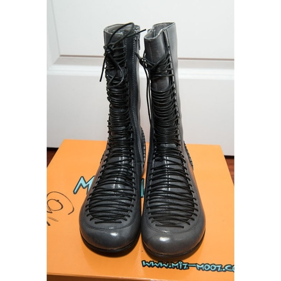 b5a85aeca98 Miz Mooz Gray Diane Lace-Up Flat Mid-Calf Boots NWT